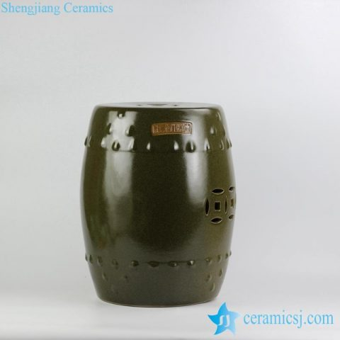 solid color tea dust glaze porcelain garden stool