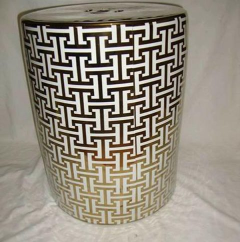 H letter pattern golden ceramic patio stool