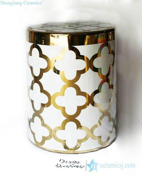 Gold pleated rim floral pattern ceramic bathroom stool