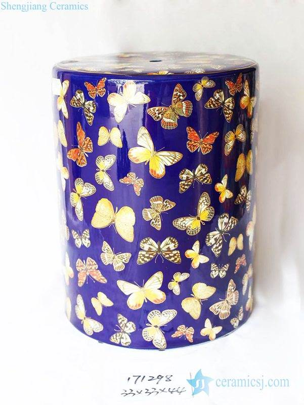 Butterfly pattern blue background leisure ceramic stool