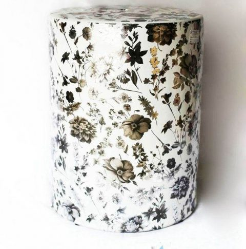 Dried flower pattern round ceramic stool