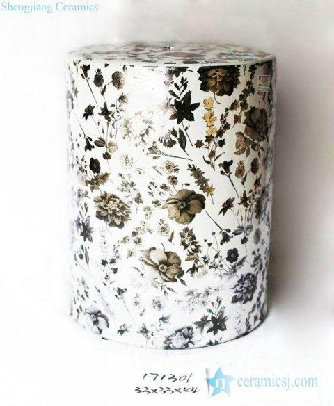 Dried flower pattern round ceramic stool