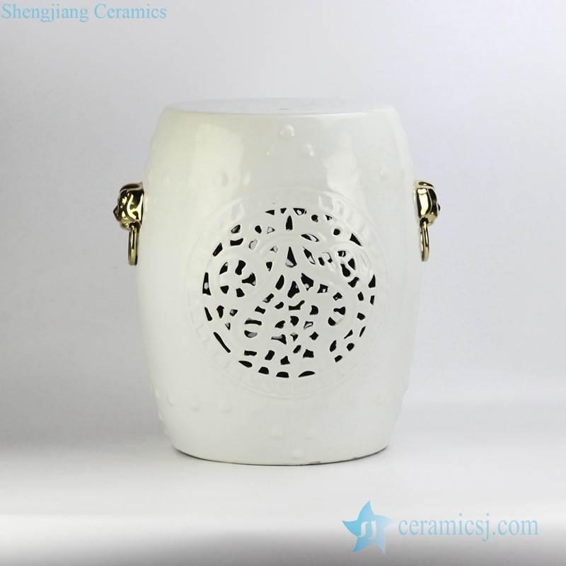 Popular export item white glaze golden lion handle unique design porcelain stool