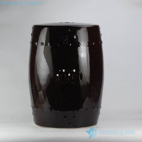 black solid color porcelain drum stool for garden lawn