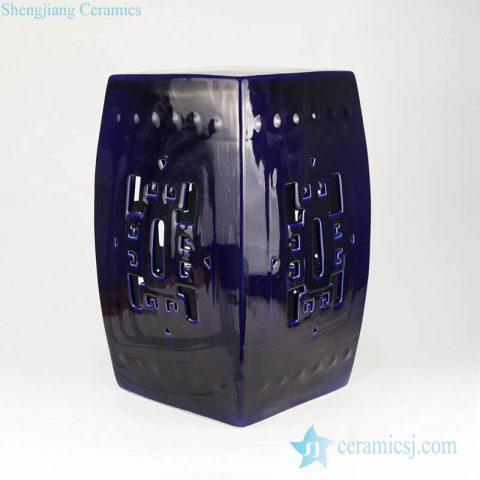 Indigo blue Indian style square porcelain bar stool