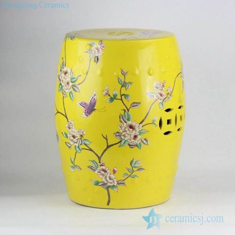 yellow ground floral and butterfly mark  contemporary crockery bar stools