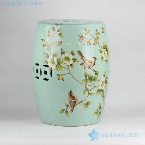 Turquoise color light green glaze ground European style garden decoration ceramic  rest seat