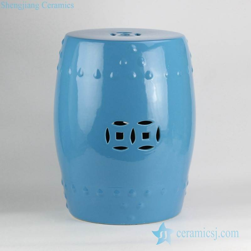 dodger blue glaze wholesale cheap  price dignified ceramic  stool for bathroom