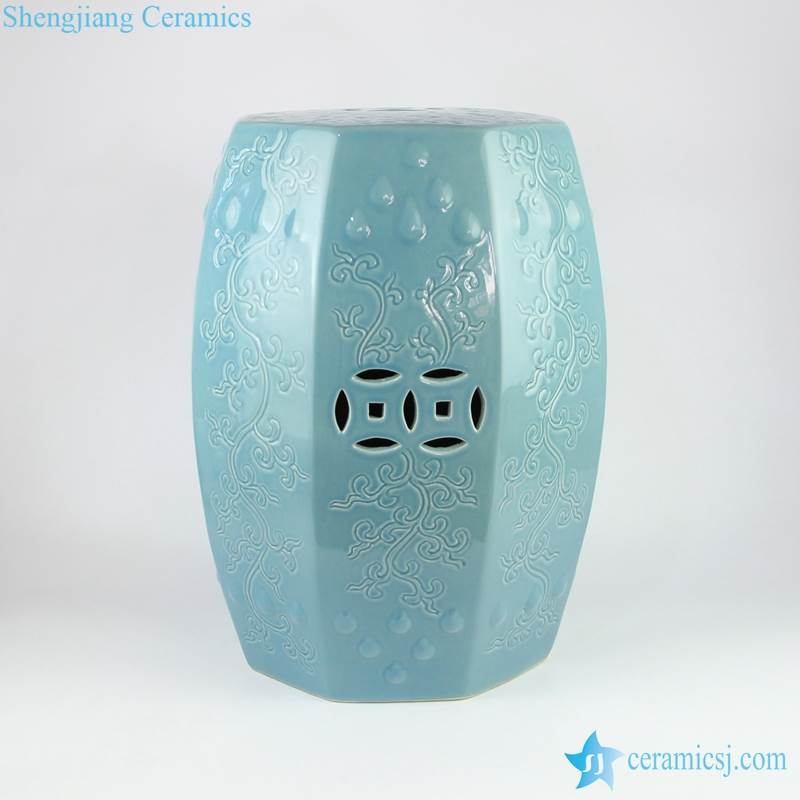 blue 6 side ceramic stool