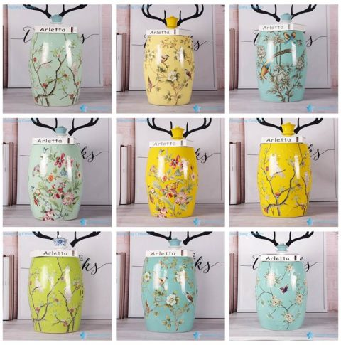 colorful background bird flower Jingdezhen Shengjiang ceramic home decor stool