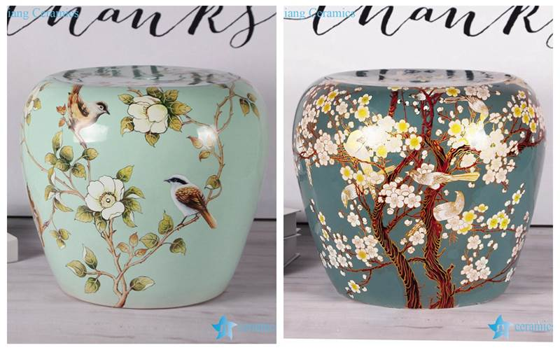 Cute cozy floral bird chinaware porcelain stool