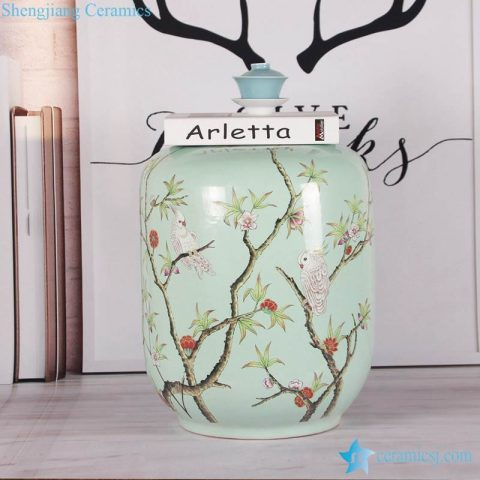 Smooth surface turquoise parrot tree branch pattern porcelain barrel chair