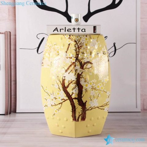 Cherry blossom Japan style interior design yellow square side table