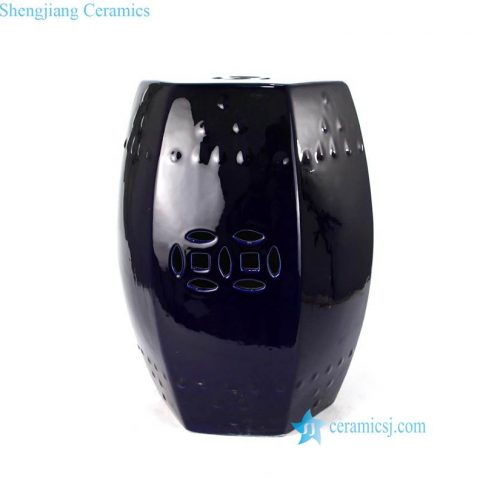 INDIGO  BLUE CERAMIC SEAT WITH HOLLOW DECORATION