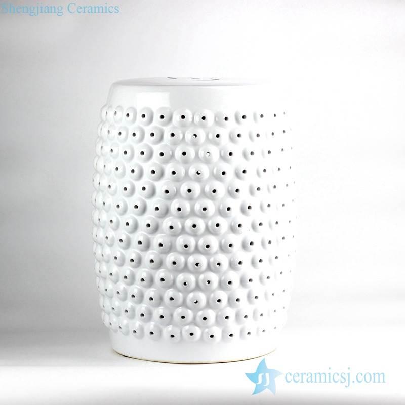 Pure white beads sculpture design porcelain  porch stool