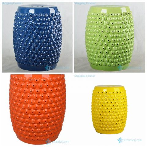 Corn style Chinese manufacture solid color ceramic stool