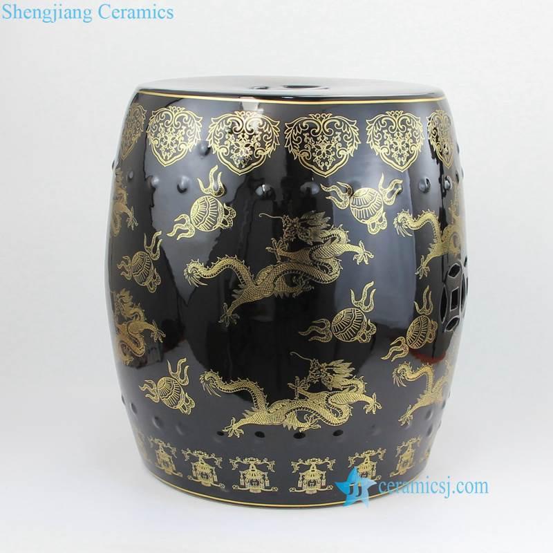 ceramic gold dragon seat