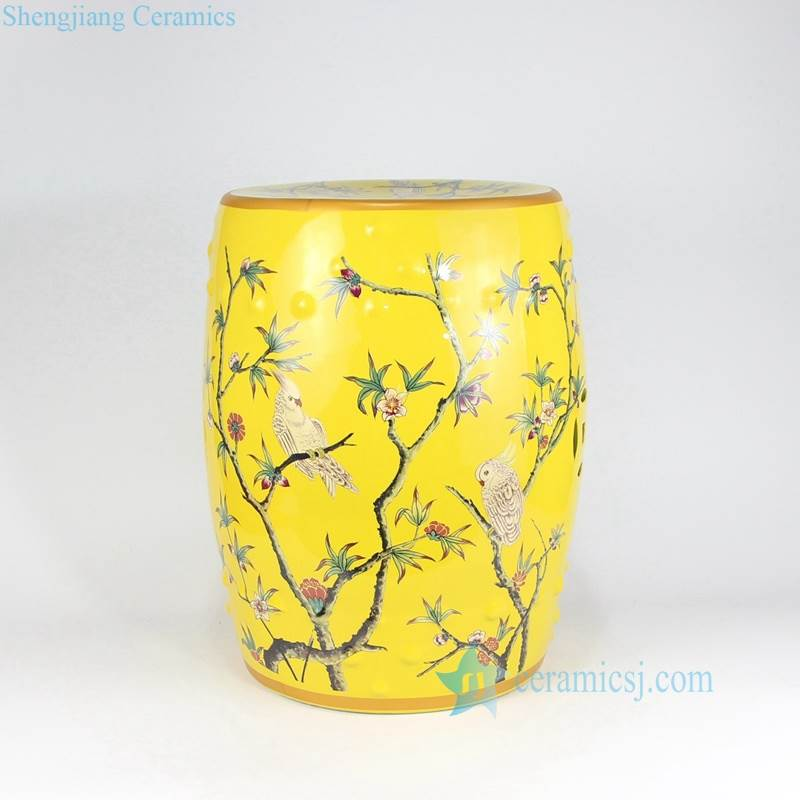 YELLOW PORCELAIN  STOOL WITH  PATTERN