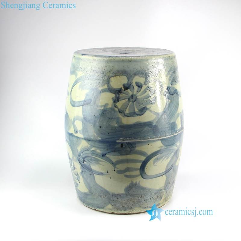 stream of abstract pattern ceramic stool
