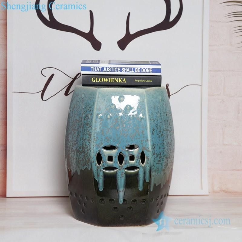melting green and black ceramic seat