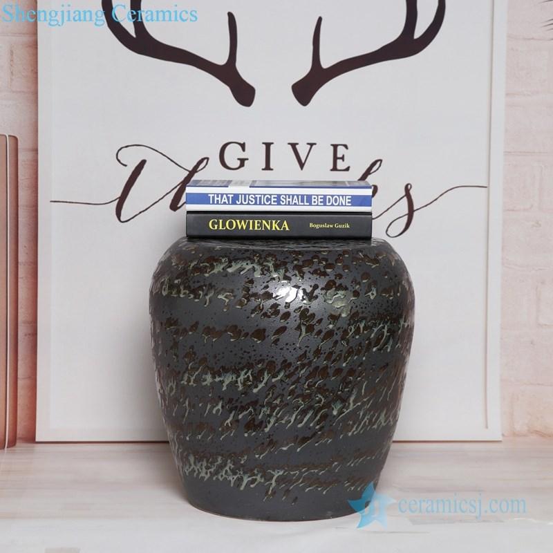 spray black glaze ceramic stool