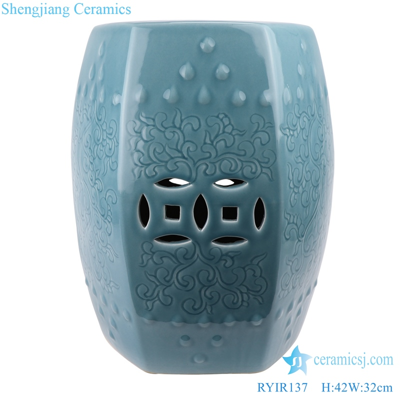 Chinese Light blue shadow ceramic stool
