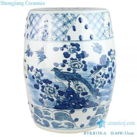 Jingdezhen flower and bird ceramic drum nail stool