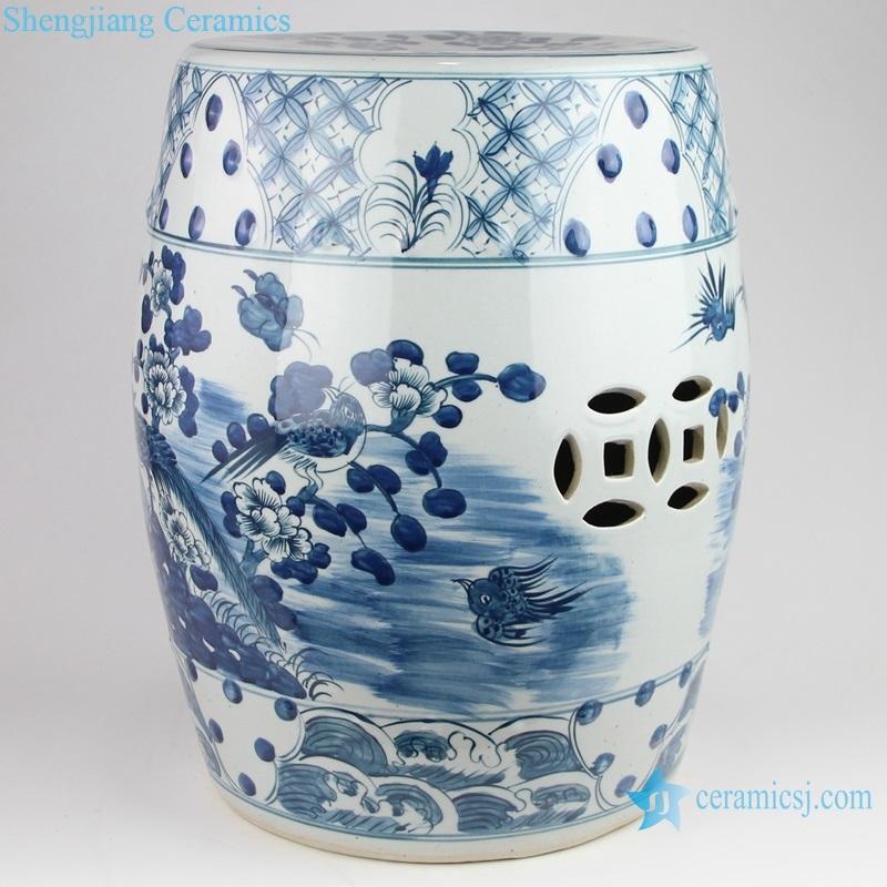 flower and bird ceramic drum nail stool