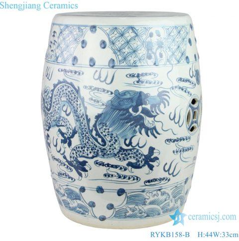 Jingdezhen dragon pattern ceramic drum nail stool