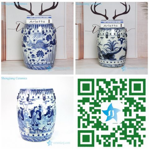 g blue and white ceramic stool