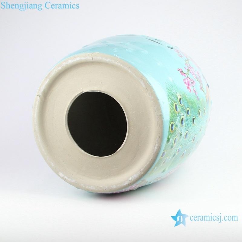color glaze porcelain stool bottom view