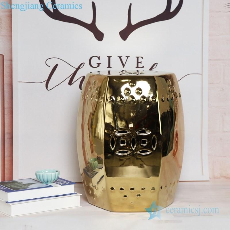 golden porcelain stool