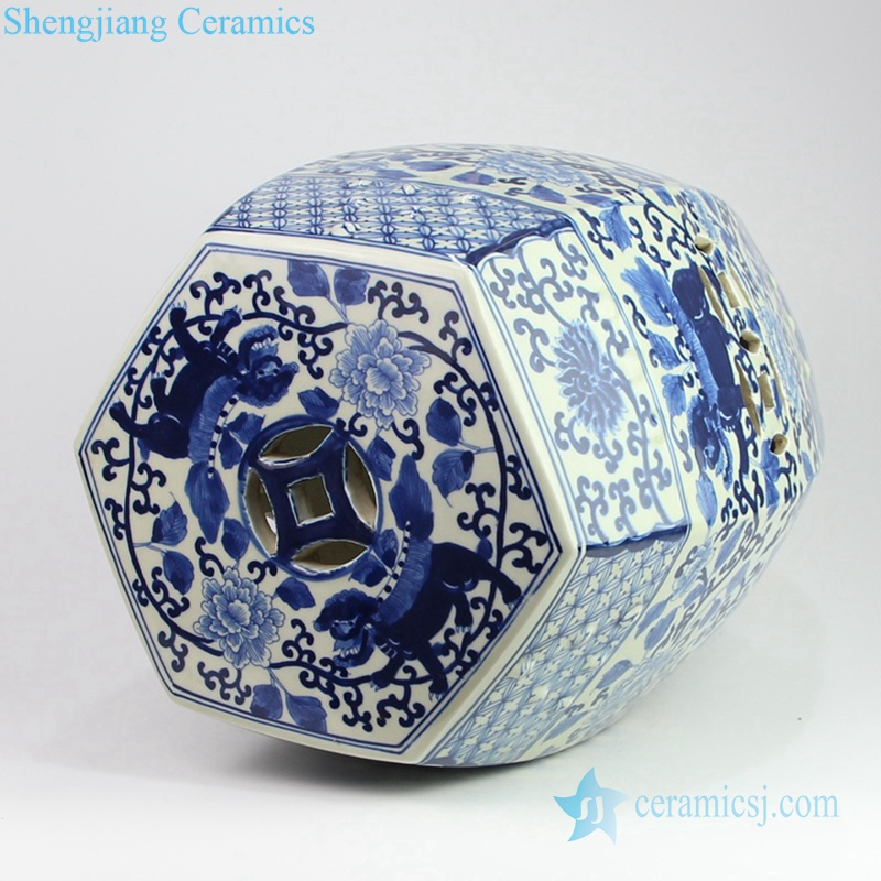 Chinese lion porcelain seat