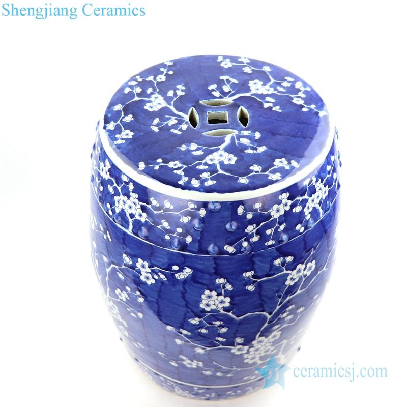 blue cherry blossom tree porcelain seat