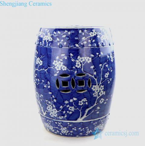 blue cherry blossom tree porcelain seat
