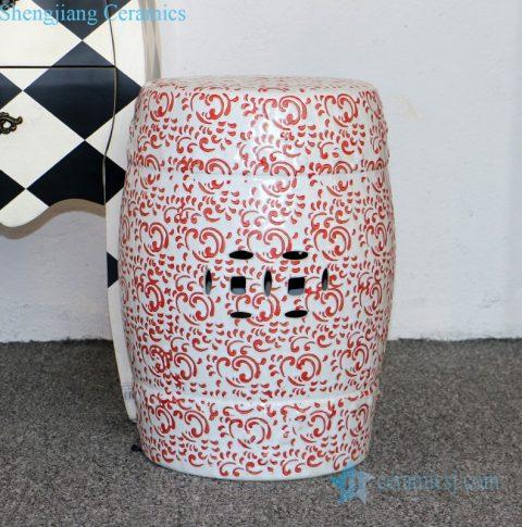 underglaze red ceramic stool