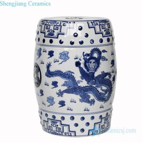 dragon design ceramic stool