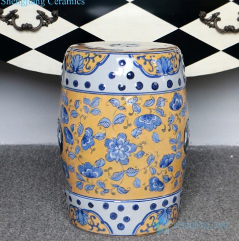 yellow background ceramic stool