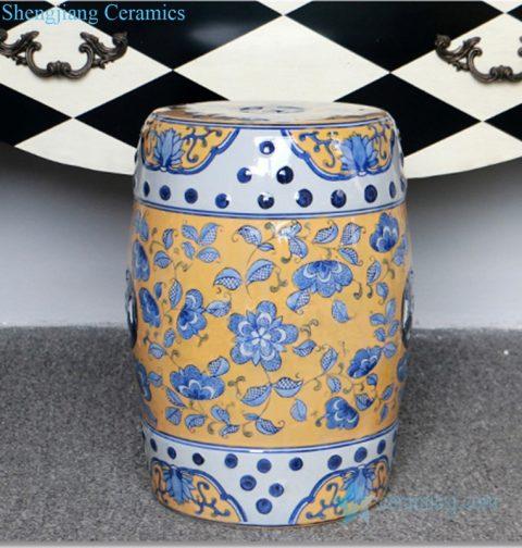 yellow background ceramic stool