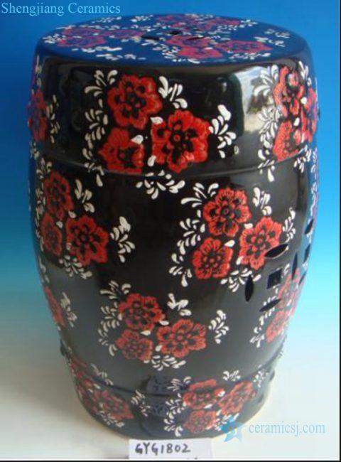 red flowers ceramic stool