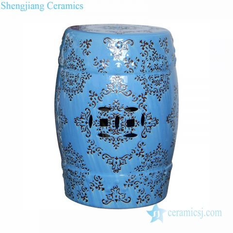 blue ceramic stool