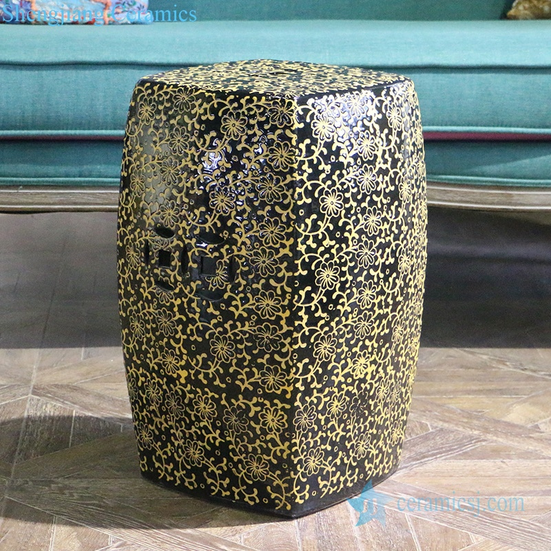 yellow carving flower design stool