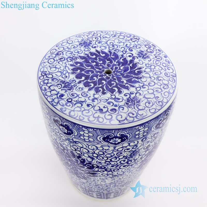 hand paint lotus ceramic stool
