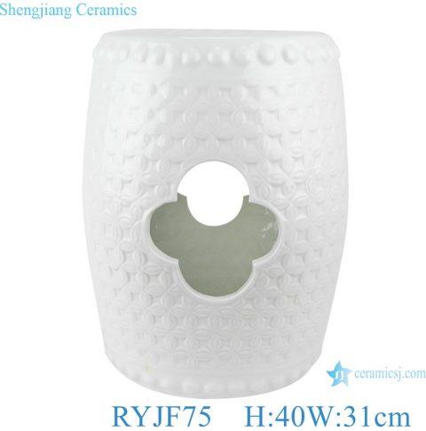 White carved design hollow Flower Ceramic drum stool