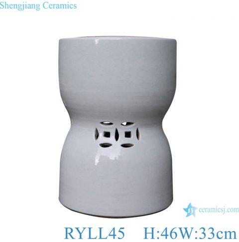 Money hole design shaped White Porcelain stool