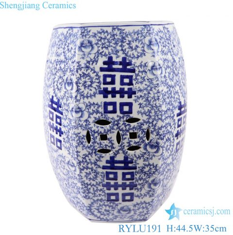 RYLU191 blue and white Chinese Traditional garden stool