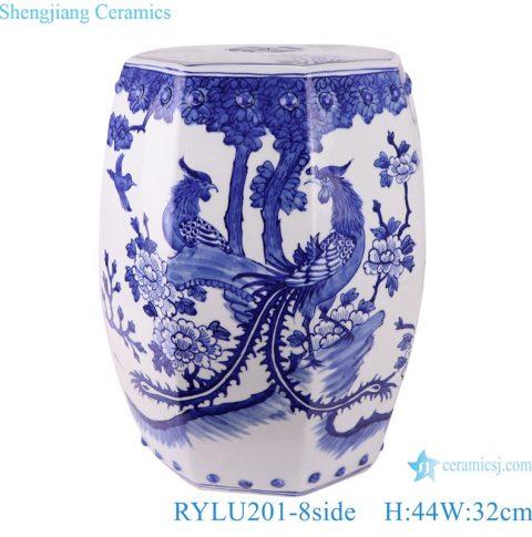 RYLU201-8side Blue and white Porcelain phoenix design ceramic Garden chair stool