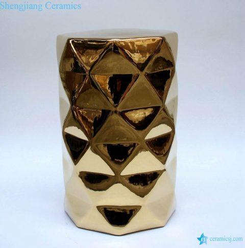Gold pleated diamond sparkles ceramic home chair stool