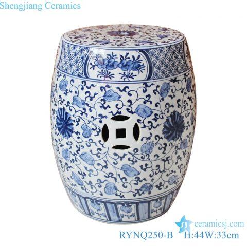 blue and white Porcelain Flower garden stool