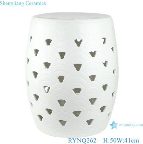RYNQ262 hot sale pure white Solid color ceramic garden Drum stool